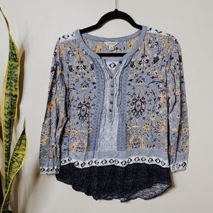 • LUCKY BRAND • blue boho printed top